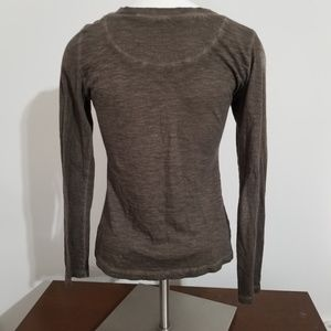 Free People Tops - Free People Brown Henley Top Size Xsmall Sequin
